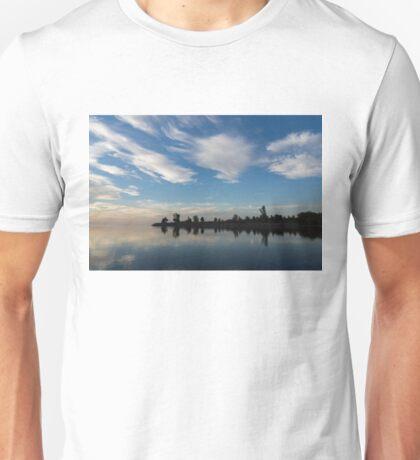 Blue and White Serenity - a Lakefront Stillness Unisex T-Shirt
