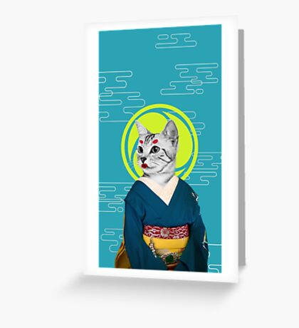 geisha cat Greeting Card
