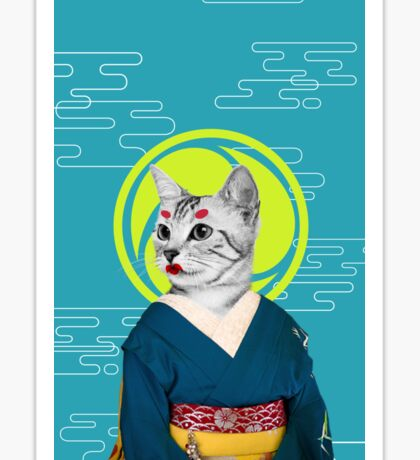 geisha cat Sticker
