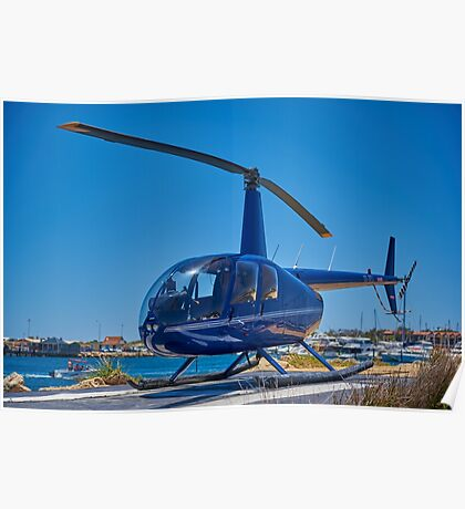 Blue Helicopter Robinson R44 Poster