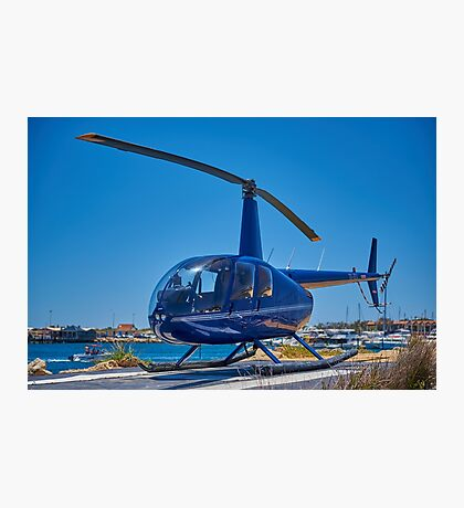 Blue Helicopter Robinson R44 Photographic Print