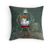 THE PURRRFECT PRINCESS IN HER CARRIAGE>>CAT>FELINE PILLOW AND OR TOTE BAG Throw Pillow