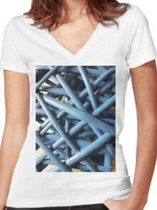 Blue Wicker  Women's Fitted V-Neck T-Shirt