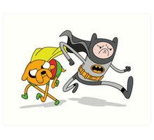 Adventure Time Batman and Robin Mash Up Art Print