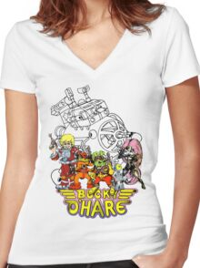 Bucky O'Hare - Logo - Group with Ship - Color Women's Fitted V-Neck T-Shirt