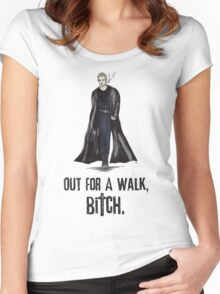 """Buffy The Vampire Slayer - Spike """"Out for a walk b#tch"""" Women's Fitted Scoop T-Shirt"""