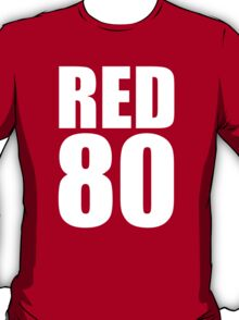 Colin Kaepernick - RED 80 - White text T-Shirt