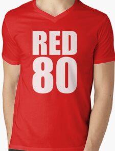 Colin Kaepernick - RED 80 - White text Mens V-Neck T-Shirt