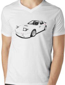 Initial D Mazda RX7 FC White Comet Mens V-Neck T-Shirt