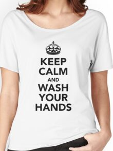 Keep Calm and Wash Your Hands - Black Women's Relaxed Fit T-Shirt