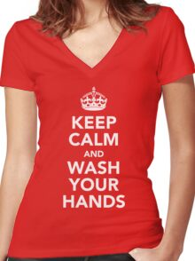 KEEP CALM AND WASH YOUR HANDS - WHITE Women's Fitted V-Neck T-Shirt