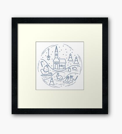 Vector illustration of different new year and christmas symbols arranged in a circle.  Framed Print