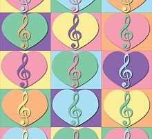Treble Clefs and Hearts by ValeriesGallery