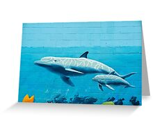 Dolphins graffiti mural Greeting Card