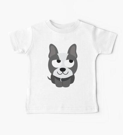 Boston Terrier Emoji Thinking Hard and Hmm Face Baby Tee
