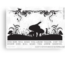 Alice's Adventures in Wonderland Black and White Illustrated Quote Canvas Print