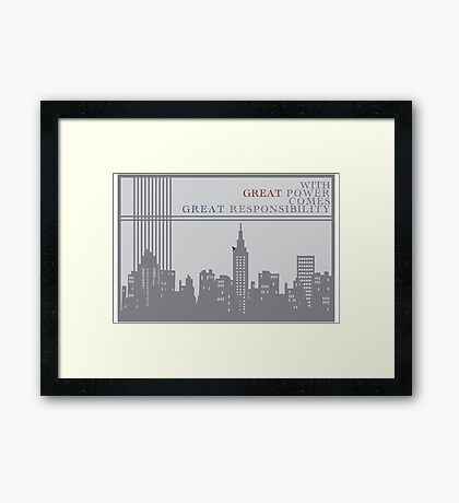 Spider-man New York Skyline Quote Framed Print