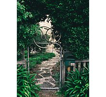 Leafy gate with a bicycle wheel decoration Photographic Print