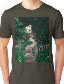 Leafy gate with a bicycle wheel decoration Unisex T-Shirt