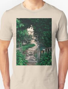 Leafy gate with a bicycle wheel decoration T-Shirt