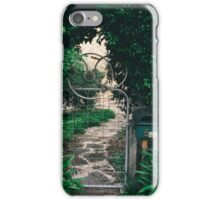 Leafy gate with a bicycle wheel decoration iPhone Case/Skin