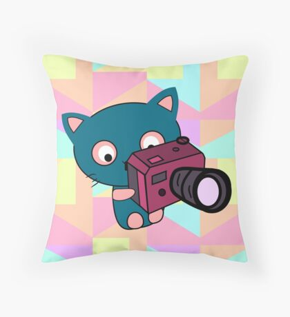 Cute kitty photographer Throw Pillow