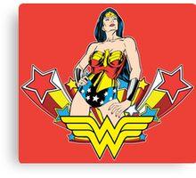 Wonder Woman on Red Canvas Print