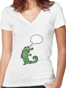 happy crocodile cartoon Women's Fitted V-Neck T-Shirt