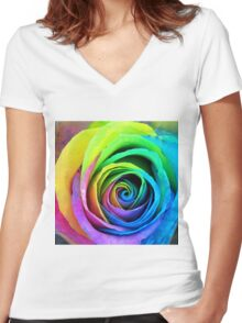 Rainbow Rose Women's Fitted V-Neck T-Shirt