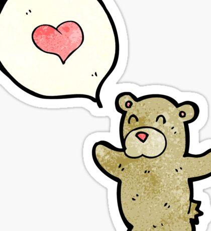 cartoon teddy bear with love heart Sticker