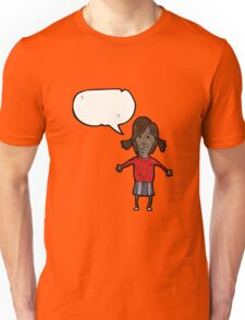 cartoon girl with speech bubble Unisex T-Shirt