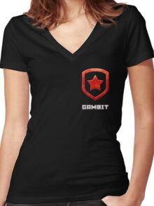 Gambit Gloss - Red Women's Fitted V-Neck T-Shirt
