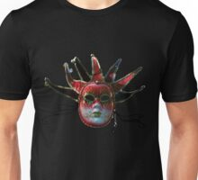 BLACK, RED AND GOLD JESTER MASK , Masquerade Party Unisex T-Shirt