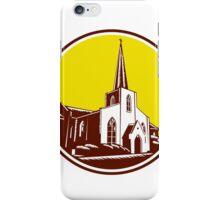 Trinity Parish Episcopal Church Woodcut Retro iPhone Case/Skin