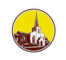 Trinity Parish Episcopal Church Woodcut Retro by patrimonio