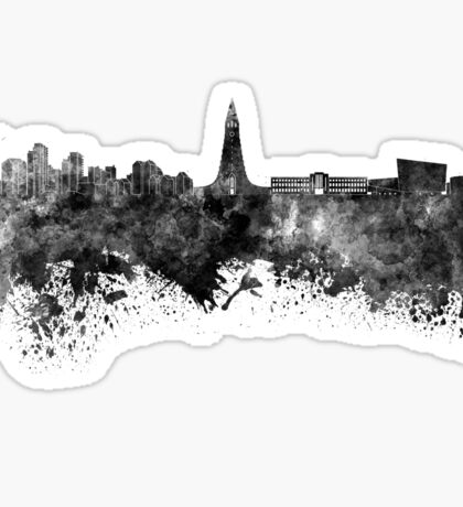 Reykjavik skyline in black watercolor Sticker