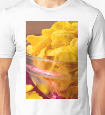Defocused and blurred macro view of yellow cornflake Unisex T-Shirt