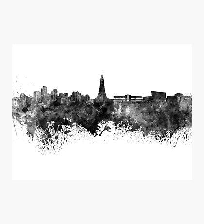 Reykjavik skyline in black watercolor Photographic Print