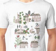 Christmas Winter Village Scene  Unisex T-Shirt