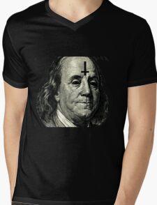 Anti Bejamin franklin Mens V-Neck T-Shirt