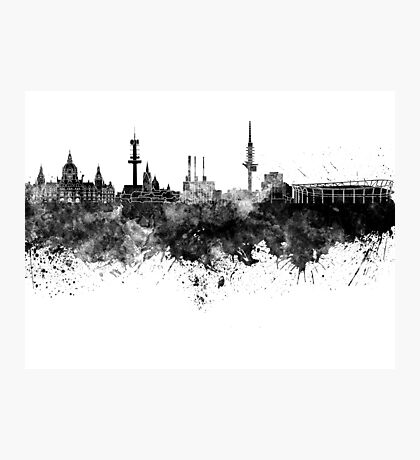 Hannover skyline in black watercolor Photographic Print
