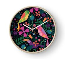 Enchanted Tiki Birds  Clock