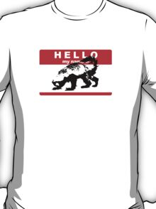 Hello My Name Is Honey Badger sticker T-Shirt