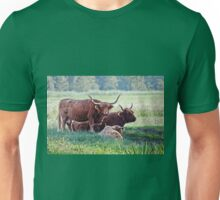Highland cattle cows family on pasture Unisex T-Shirt