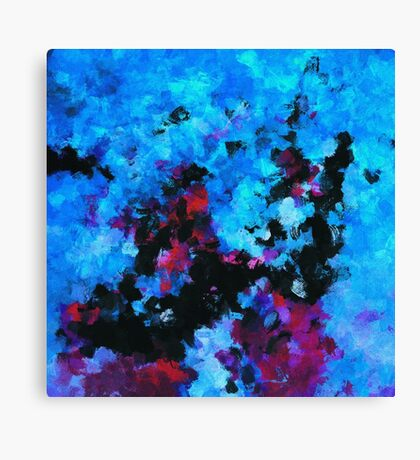 Teal Abstract Acrylic Painting Canvas Print