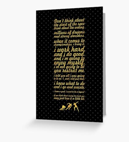 """Don't think about... """"Usain Bolt"""" Life Inspirational Quote Greeting Card"""