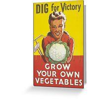 Dig for Veggies- Vintage Greeting Card