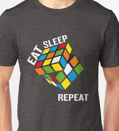 Rubiks Cube Eat Sleep Repeat Funny Gifts Gamer Unisex T-Shirt