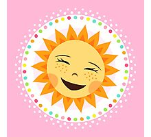 Happy, laughing sun inside colorful polka dot border Photographic Print