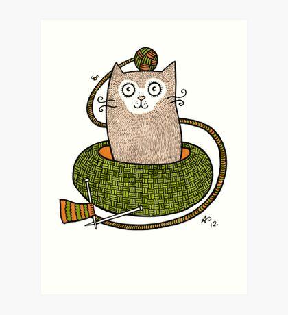 Knit One Purrl One Art Print